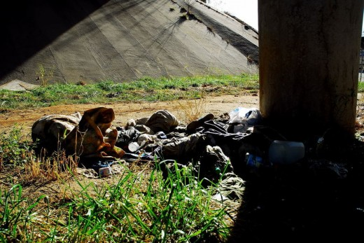 Yes a homeless camp under a freeway bridge. What if you had to go live under a bridge tonight.