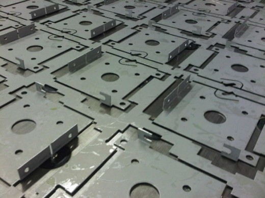 Sheet metal work which has been CNC punched on a Trumpf 3000R CNC punch press.
