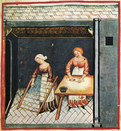 Making pasta; illustration from the 15th century edition of Tacuinum Sanitatis, a Latin translation of the Arabic work Taqwīm al-sihha by Ibn Butlan