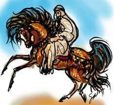 Bedouin rider on a bay Arabian stallion