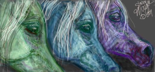 Three faces of Moonlit Arabians