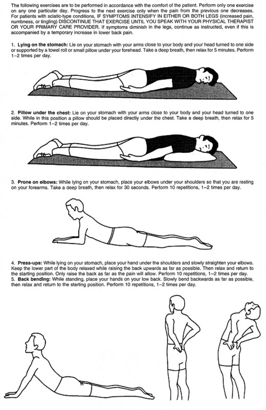 Directions for McKenzie Low Back Exercises