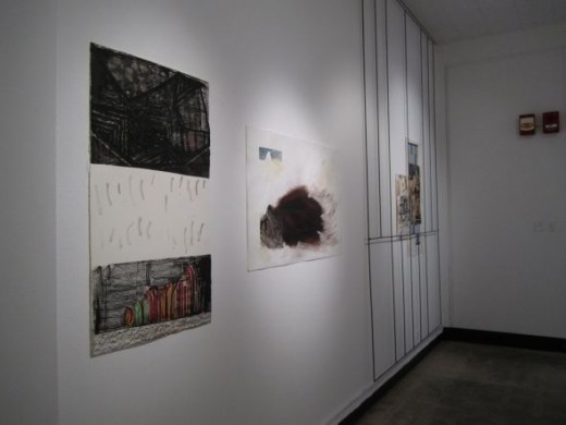 "Installation view, Foreground: SR, ""Stone and Fingers"".Center: JO'B, ""Paesaggi Storici (Storied Landscapes) #6"