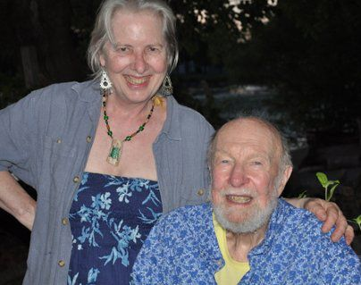 Mom with musician & activist Pete Seeger - he was strongly active in children's programs in Mom's area.