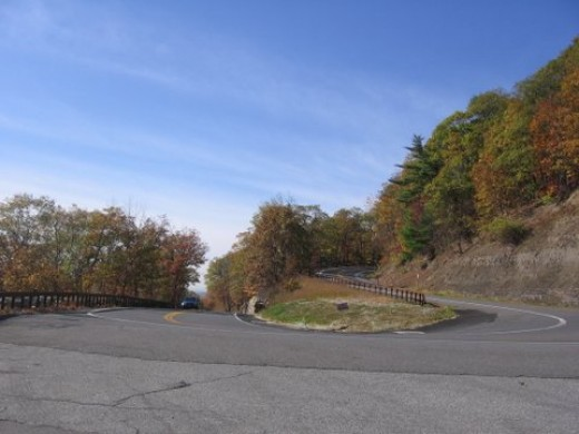 The dangerous hairpin turn on Minnewaska that resulted in a bus accident in both Dark Moon Gates and in real life.