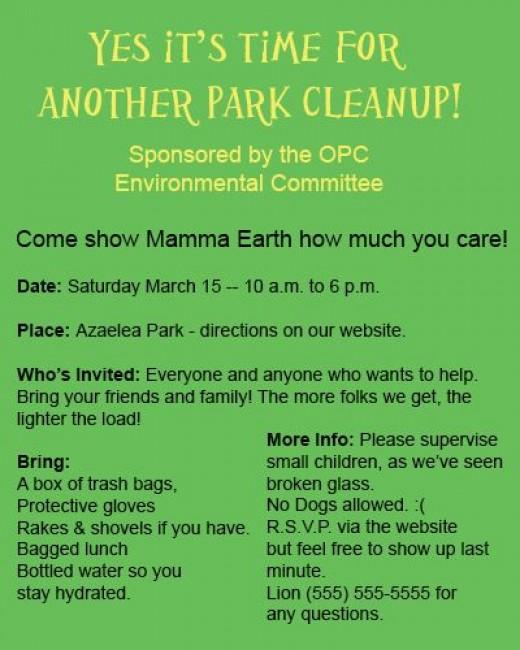 Park  Cleanup Poster
