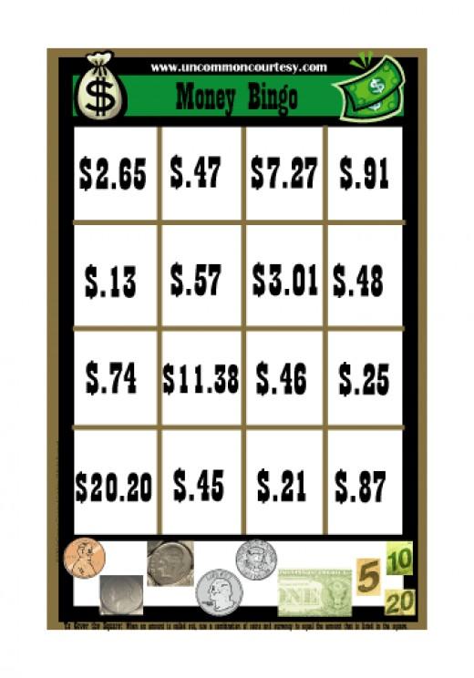 Money (Currency) Bingo