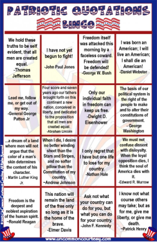 Patriotic Quotations Bingo