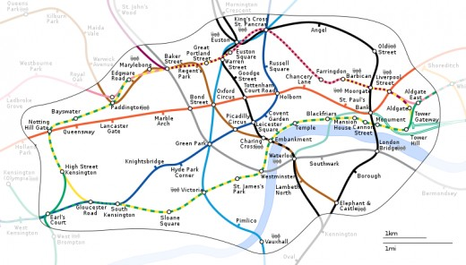 London geographically-accurate Tube Map