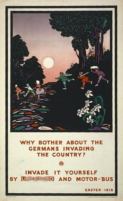 1915 poster advertising the London Underground by making fun of German invasions during the First World War.