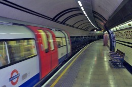 Modern tube train at Mornington Crescent station