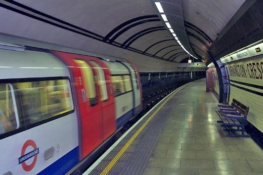 Modern tube train at Mornington Crescent station