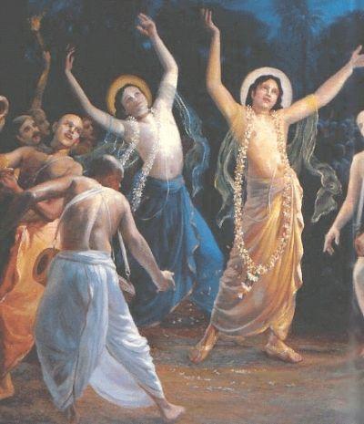 Sri Nityananda dancing (in blue)
