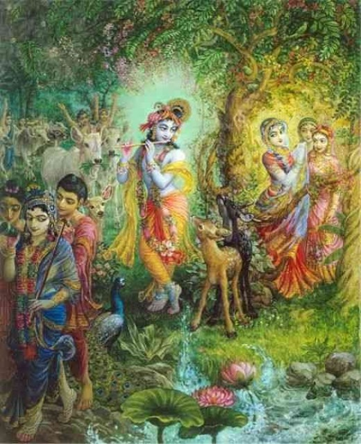 """Venu Gita""Sweet Krishna charms everyone with his flute-playing. Radhika watches him secretly from a grove, while his friends dance behind him with the cows, and his brother leaves the scene off to the left."