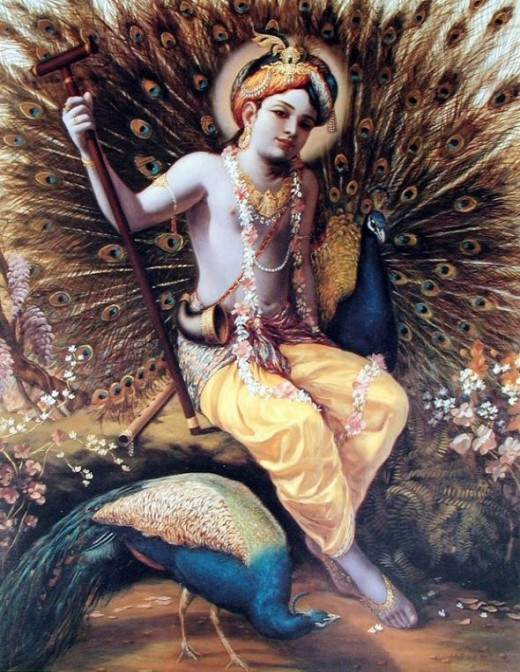 """Krishna and Peacock""Copyright The Bhaktivedanta Book Trust International, Inc."