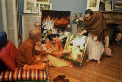 Srila A.C. Bhaktivedanta Swami looks at Syamarani didi's art