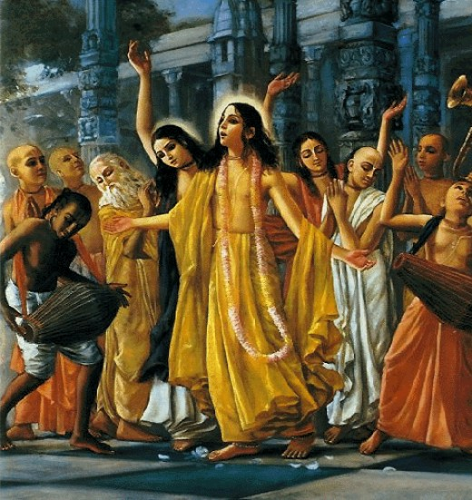 """Sankirtana""The saint, Sri Chaitanya, who is the combined form of Radha and Krishna, sings the holy Hare Krishna mantra with his associates. He is the supreme person in disguise as a saint."