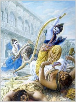 Krishna and his brother Balarama fight their enemies
