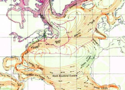 The North Atlantic Gyre, a clockwise-swirling vortex of ocean currents in the Northern Atlantic Ocean