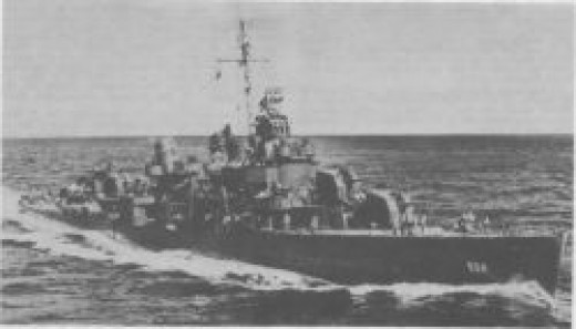 USS Sigsbee (DD-502), named after Commander Sigsbee, arly in her wartime career.
