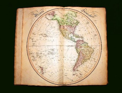 Vintage atlas showing the Americas