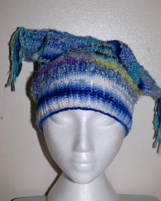 The Blues * Mix Match Slouchy Tam Ski Winter Warm Art Yarn and Raw Silk Knitted Women's Hat