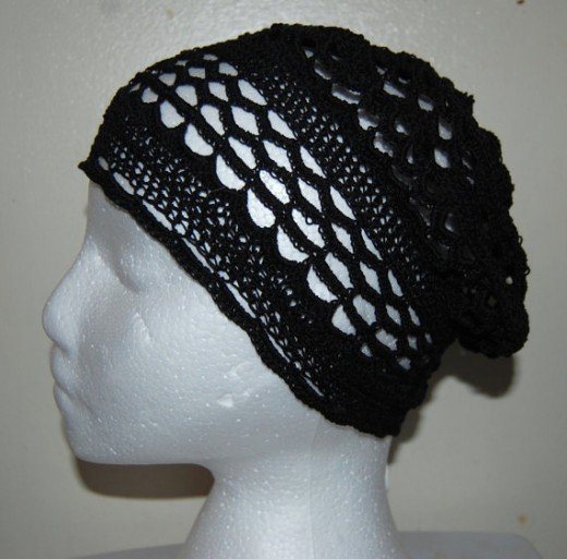 Black Crochet Filet Beanie