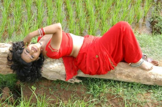 Theertha Glamour Show in hot red Saree