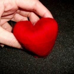 Wool fibres hand prepared in heart shape