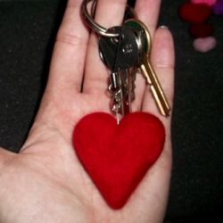 Felted keyring valentines heart gift