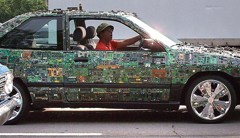 Make something crazy, like this guy. He covered his entire car with circuit boards