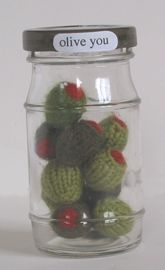 Knit olives in jar