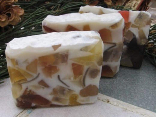Lovely embedded soap. You can find this hand made soap at http://www.etsy.com/listing/64635013/gold-kaleidoscope-soap-a-handcrafted