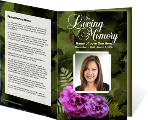 A floral themed funeral program template is beautiful and easy to create!