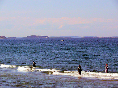 Nantasket Beach, with Boston Light in the far distance on the left.