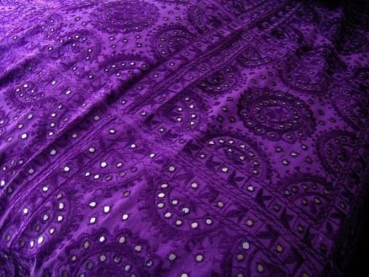 Purple shisha work bed sheet.