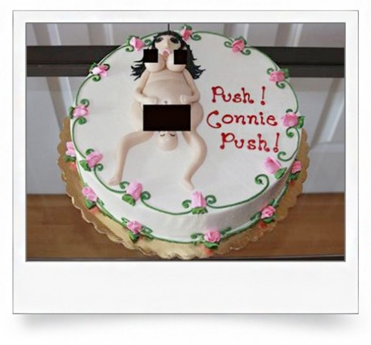 The cake comes out with its own censored bits.