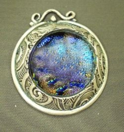 fused glass and metal clay cab surround pendant