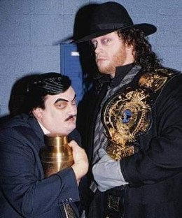 Undertaker and his then manager Paul Bearer. The Great American Bash in 1984 was the last time we saw Paul Bearer.