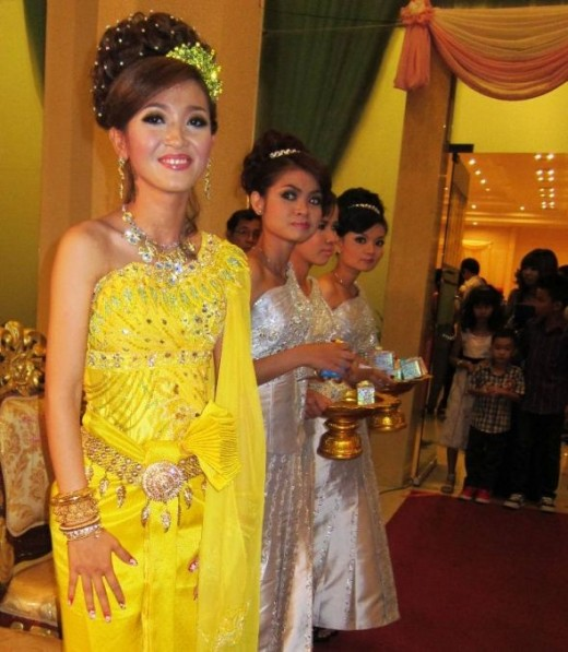 Greeting Guests at Khmer Wedding
