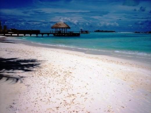 The beach in an island resort in Maldives