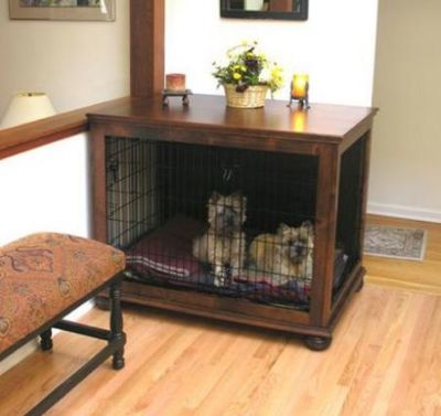"Designer Dog Crate Table from ""Crate Haven"""