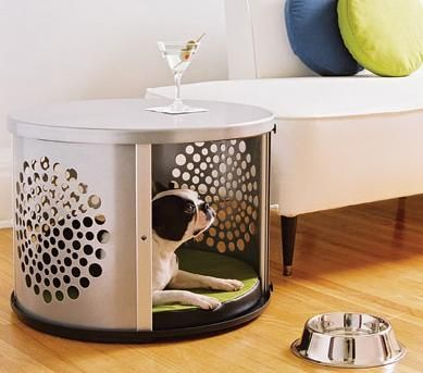 "Modern Dog Crate Side Table from ""Den Haus"""