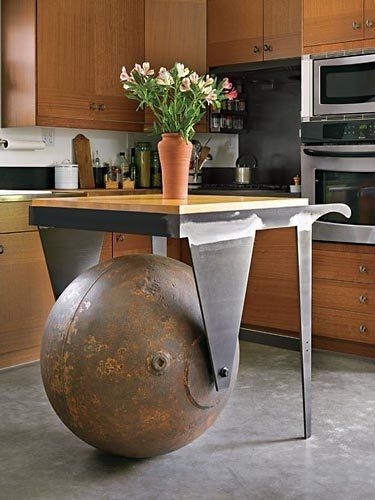 Eco-friendly Kitchen Table Made from Salvaged Materials