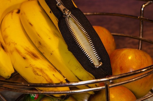 Banana Overlaid With Zipper