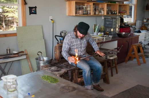 This glass blower works at the Glass Artisans Studio & Gallery on the north shore.
