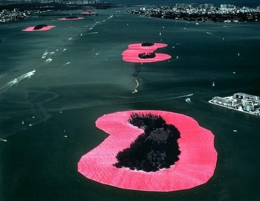 Christo and Jeanne-Claude--married couple and environmentalists wrap islands in Miami.