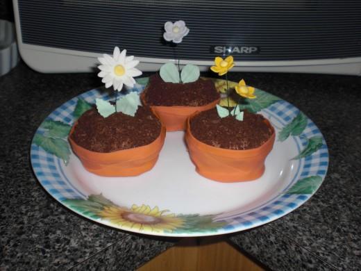 fondant flower pot cupcake with gum paste flowers.