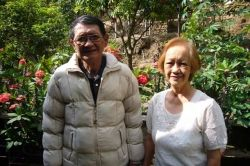 Mom and Dad in a corner of their little garden