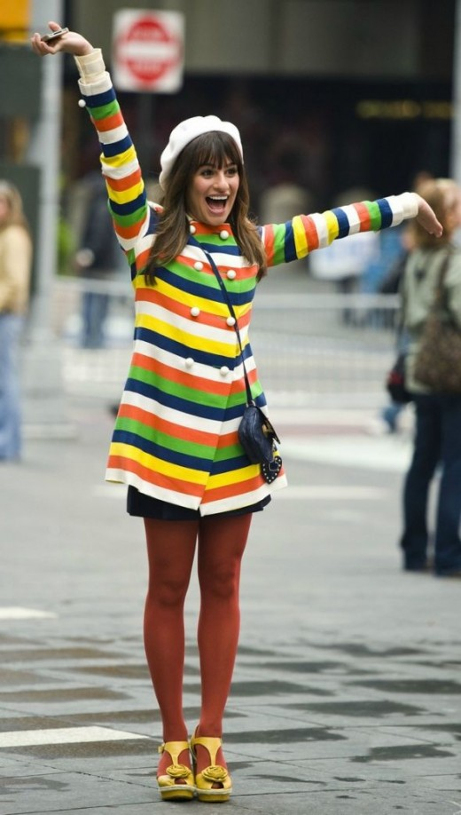 Lea Michele from Glee in colourful striped jacket